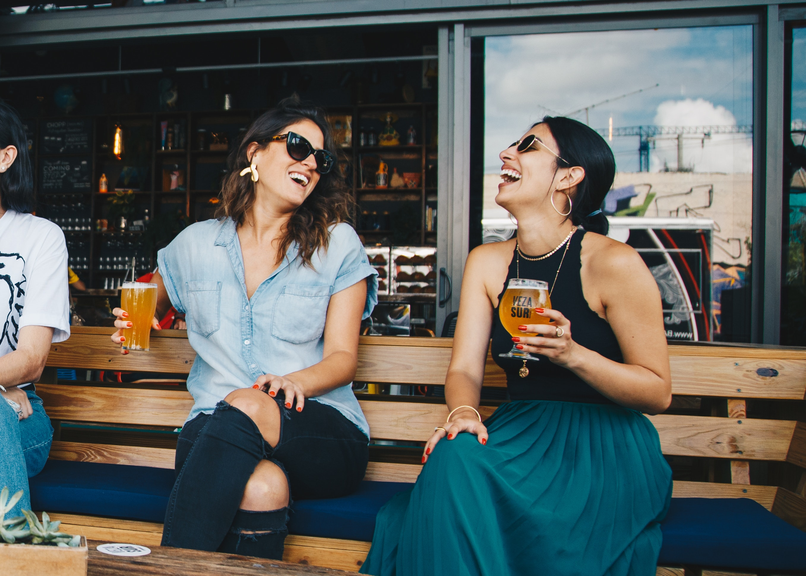 Ladies chatting while drinking beer