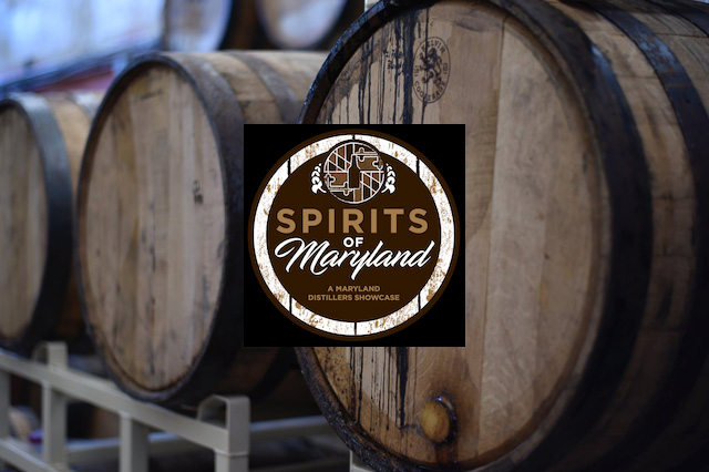 Barrels of wine behind spirits of maryland logo