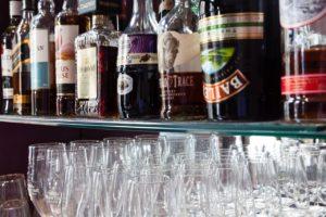 Spirit, and liquor bottles on shelf